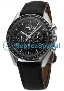 Omega Speedmaster 3876.50.31 manual Black Dial Winding aço inoxidável caso Watch